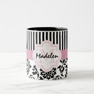 Elegant damask and stripes monogramed Two-Tone coffee mug