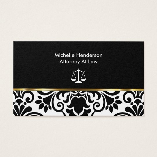 Elegant Damask Attorney Business Card