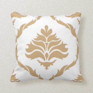 Elegant Damask Beige Throw Pillow