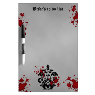 Elegant damask black and gray wedding to do list dry erase board