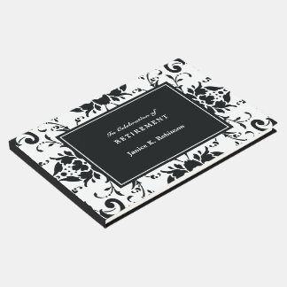 Elegant Damask Black and White Retirement Guest Book