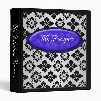 Elegant Damask Blue Personalized Recipe Binder
