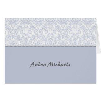 Elegant Damask Blue Photo Thank You Notecard
