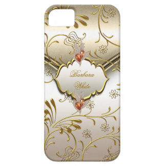 Elegant Damask Caramel Cream Beige Gold Amber iPhone 5 Case