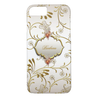 Elegant Damask Caramel Cream Beige Gold Amber iPhone 7 Case