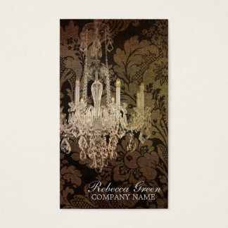elegant damask chandelier vintage promotional business card