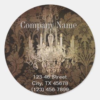 elegant damask chandelier vintage promotional round sticker