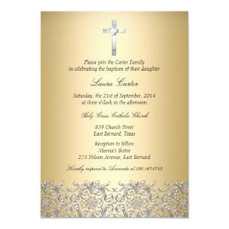 Elegant Damask & Cross Gold Baptism/Christening Card