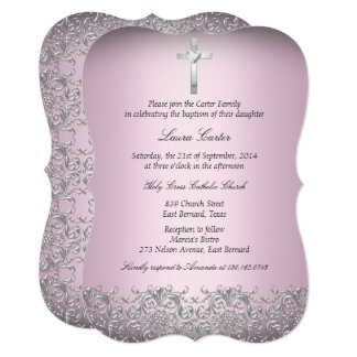 Elegant Damask & Cross Pink Baptism/Christening 2 Card