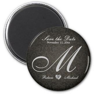 Elegant Damask Diamond Monogram Save the Date 2 Inch Round Magnet
