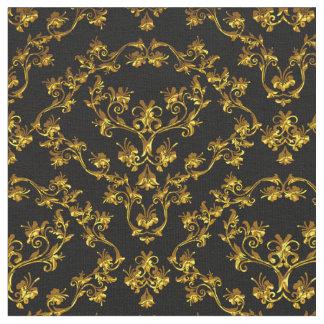 Elegant Damask Fabric black yard