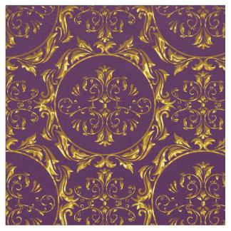 Elegant Damask Fabric Purple