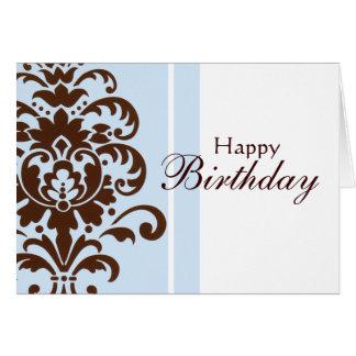Elegant Damask for Happy Birthday - Customized Card