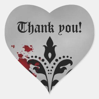 Elegant damask Halloween wedding thank you heart Heart Sticker