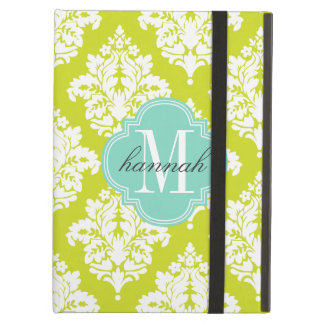Elegant Damask Lime & Pink Custom Monogrammed Cover For iPad Air