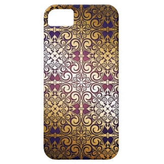 Elegant Damask Midnight Gold Swirls Shimmer iPhone 5 Case