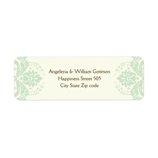 Elegant damask mint green, brown, ivory wedding return address label