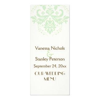 "Elegant damask mint green, ivory wedding menu card 4"" x 9.25"" invitation card"