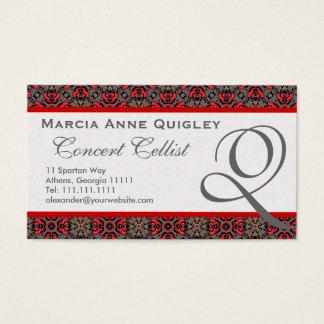 Elegant Damask Monogram Q Business Cards