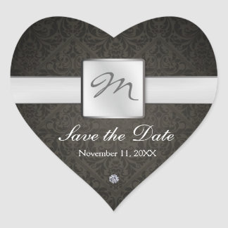 Elegant Damask Monogram Save the Date Heart Stickers