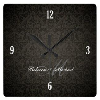 Elegant Damask Monogram Wall Clock