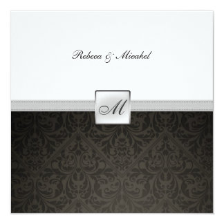 "Elegant Damask Monogram Wedding (with wording) 5.25"" Square Invitation Card"