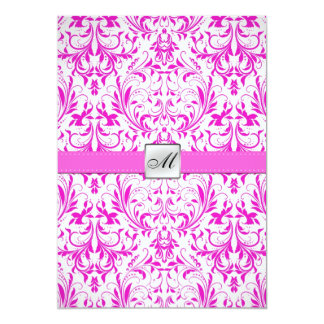 "Elegant Damask Monogram Wedding (with wording) 5"" X 7"" Invitation Card"