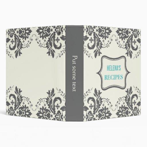 Elegant damask motif grey, aqua, ivory recipe binders