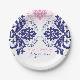 Elegant damask motif navy blue, pink wedding paper plate