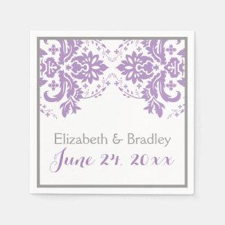Elegant damask motif purple, grey wedding paper napkins