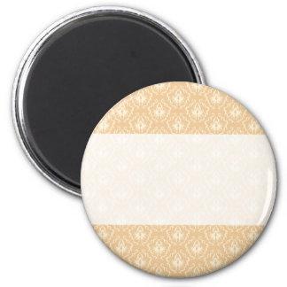 Elegant damask pattern Beige and cream Fridge Magnets