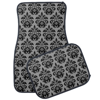 Elegant damask pattern black and gray car mat