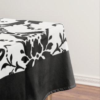 Elegant Damask Pattern Black And White Tablecloth