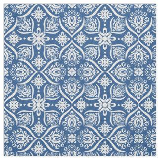 Elegant Damask Pattern | Blue And White Fabric