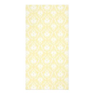 Elegant damask pattern. Light gold color. Photo Cards
