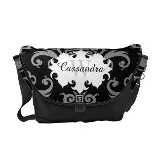 Elegant damask pattern monogram courier bags