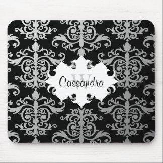 Elegant damask pattern monogram mouse pads