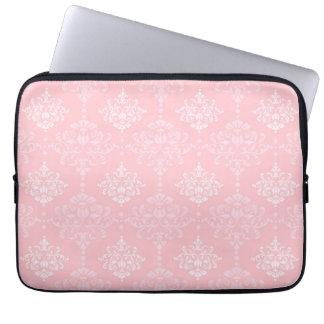 Elegant Damask Pattern Pastel Pink Floral Laptop Sleeve