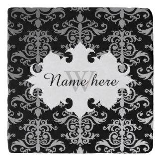 Elegant damask pattern personalized monogrammed trivet