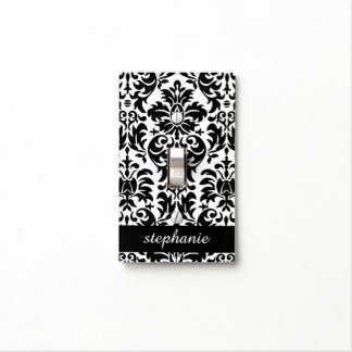 Elegant Damask Patterns with Black and White Light Switch Cover