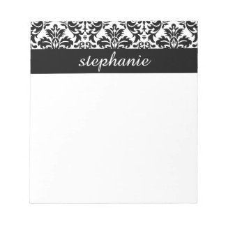 Elegant Damask Patterns with Black and White Notepad