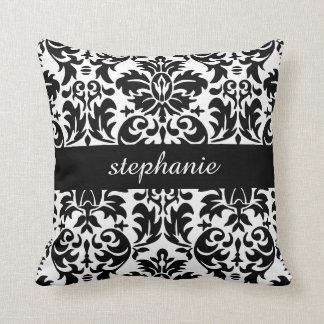 Elegant Damask Patterns with Black and White Throw Pillow
