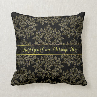 Elegant damask personalized text black pillow