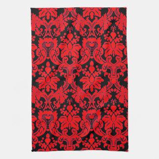 Elegant Damask Red/ Black Kitchen Towel