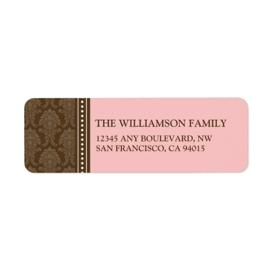 Elegant Damask Return Address Labels (pink)