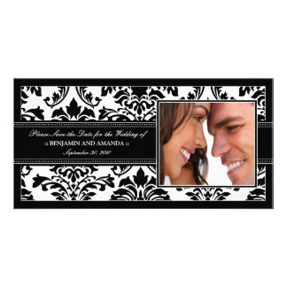 Elegant Damask Save-the-Date Photocard: black Photo Greeting Card