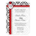 """Elegant Damask Side Borders Red Trim Wedding 5"""" X 7"""" Invitation Card"""