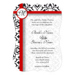 Elegant Damask Side Borders Red Trim Wedding Personalized Announcements