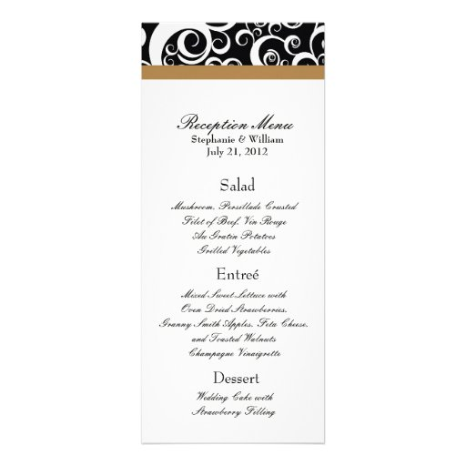 Elegant Damask Swirls Reception Menu in Hazelnut Personalized Invites