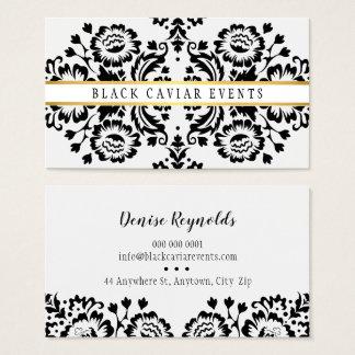 ELEGANT DAMASK vintage pattern gold black white Business Card